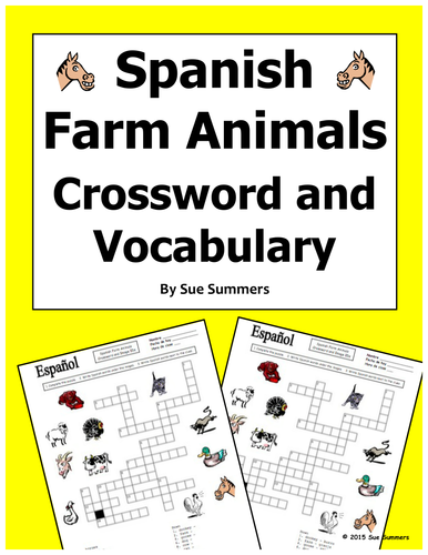 spanish farm animals crossword puzzle worksheet and vocabulary by suesummersshop teaching. Black Bedroom Furniture Sets. Home Design Ideas