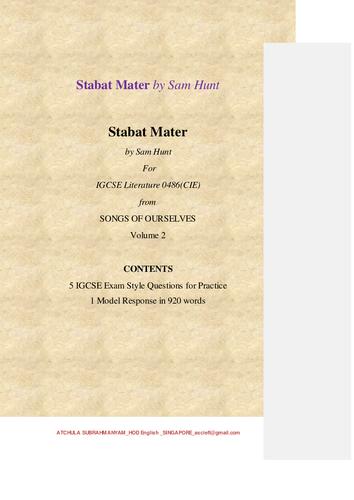 Stabat Mater by Sam Hunt