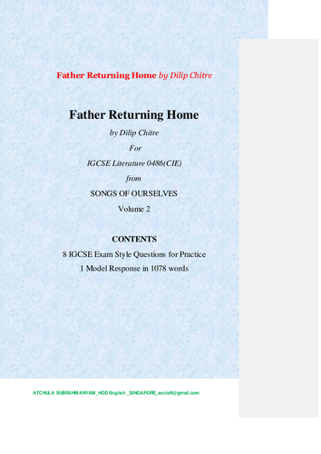 Father Returning Home by Dilip Chitre