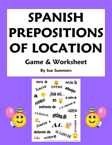 Preposition In Learn In Marathi All Complate: Spanish Prepositions Flyswatter Game And Worksheet By