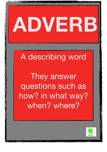 English Resource. Classroom Visuals. Adverb Poster