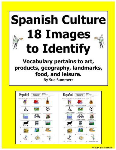 spanish culture 18 image ids worksheet and vocabulary list by suesummersshop teaching. Black Bedroom Furniture Sets. Home Design Ideas