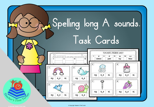 Long A sound task cards. 20 cards to practice a_e, ai and ay.