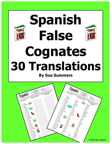 Spanish 30 False Cognates Translations and Image IDs Worksheet