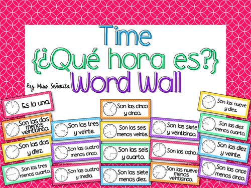 Spanish Time {¿Qué hora es?} Word Wall & Bulletin Board Set