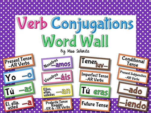Spanish Verb Conjugations Word Wall & Bulletin Board Set