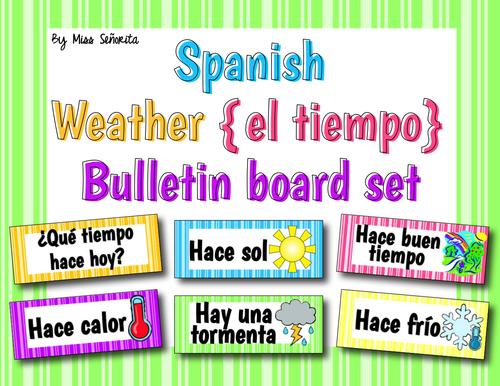 Spanish Weather {El Tiempo} Word Wall & Bulletin Board Set