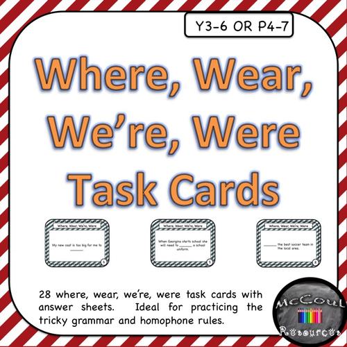 Where Wear Were Were Homophone Grammar Task Cards By Jmcmeekin