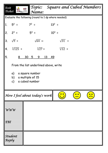 Square Roots and Cube Roots Lesson visual approach with Worksheets ...