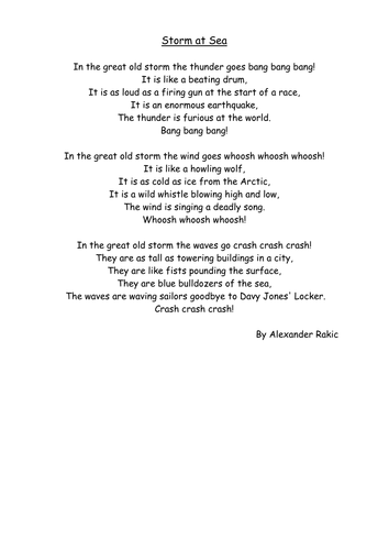 Storm At Sea Poetry By Megaalex66 Teaching Resources Tes