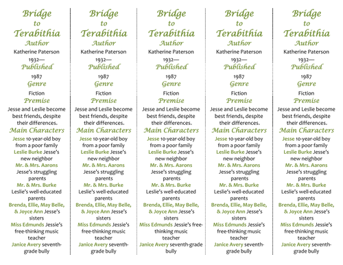 Bridge to Terabithia ed of Bookmarks Plus Great Gift for – Bridge to Terabithia Worksheets