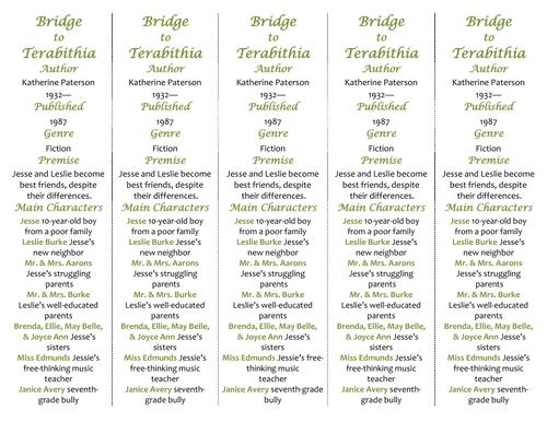Bridge to Terabithia ed of Bookmarks Plus Great Gift for – Bridge to Terabithia Worksheets