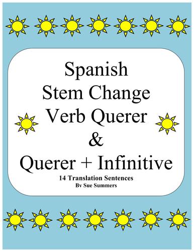 Spanish Querer and Querer + Infinitive Sentences Worksheet