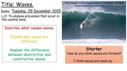 AQA A Coasts 'Waves Introduction' Lesson 1