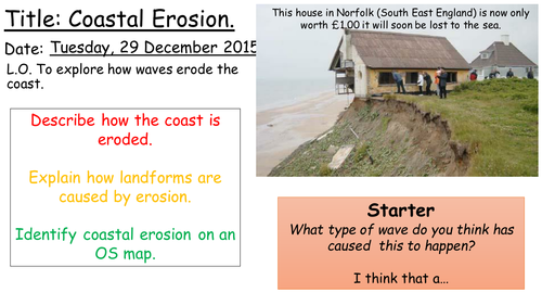 AQA A Coasts 'Coastal Erosion' Lesson 2
