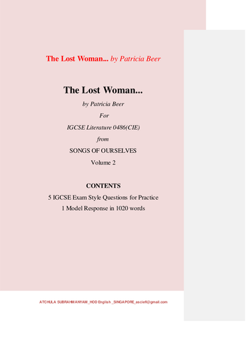 The Lost Woman... by Patricia Beer