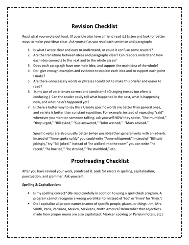Revision and Proofreading Checklist