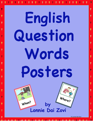English Question Words Visuals  For Walls