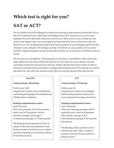 SAT & ACT test component comparisons