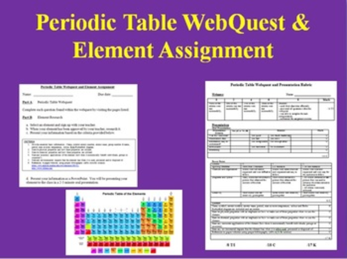 The periodic table webquest answers periodic diagrams science periodic table webquest and element assignment by teachwithfergy urtaz Choice Image