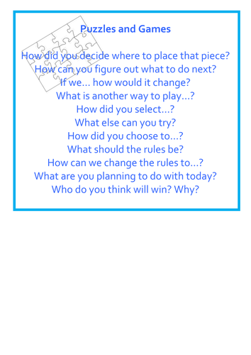 EYFS learning areas Blooms Questions