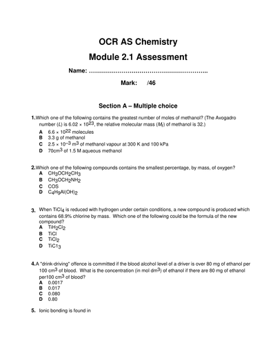 New OCR AS Chemistry assessment Module 2.1