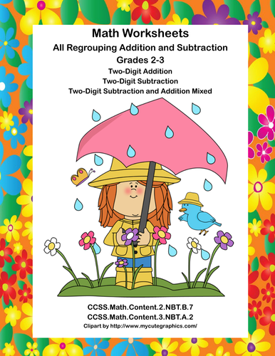 Math Worksheets-All Regrouping Addition and Subtraction-Grades 2-3 ...