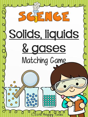 states of matter solids liquids gases matching card game