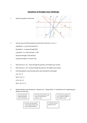Equations Of Straight Line Graphs Challenge Worksheet By