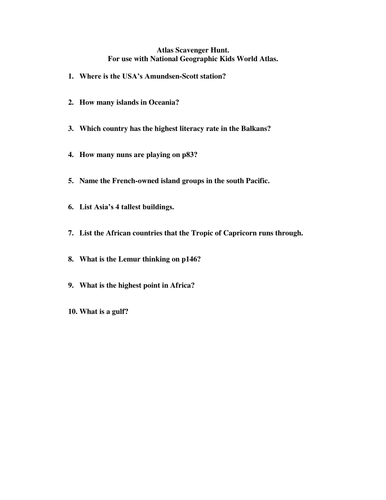 Sustain the student teaching resources tes tricky atlas scavenger hunt gumiabroncs Gallery