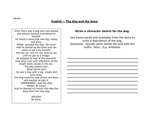 Dog And Bone Fable Writing Worksheet By Robcrook