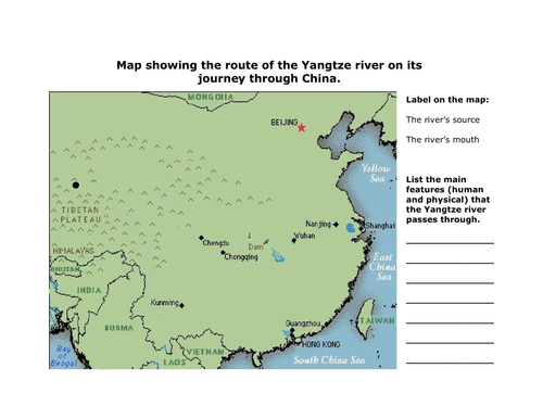 Draw map of the river Yangtze