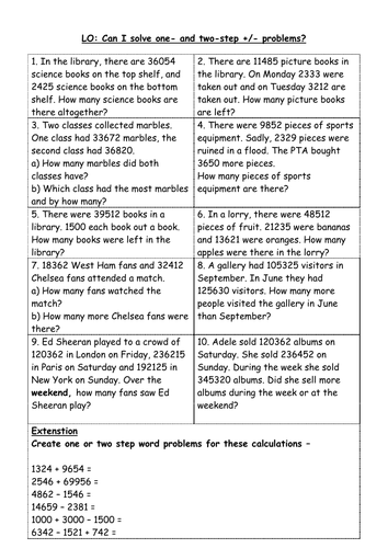 addition and subtraction word problems year 4/5 by shiv199 ...