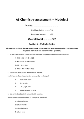 OCR AS Chemistry Module 2 assessment (New spec from 2015)