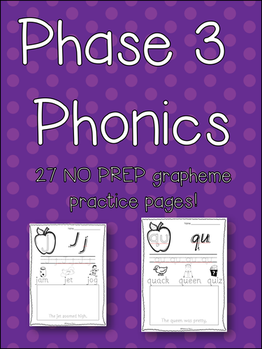 Phase 3 Phonics NO PREP activity pack! Fine Motor, Early Reading, Letter Form! Letters and Sounds!