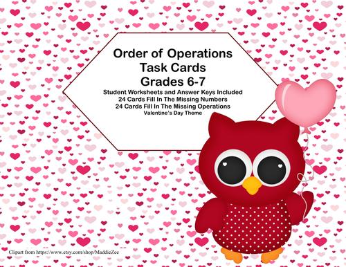 Order of Operations Task CardsMissing Number or Operation – Order of Operations Worksheets Pdf