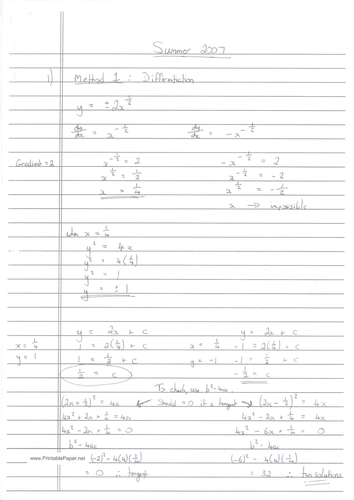 CIE A-Level Maths Pure 1 (P1) Worked Solutions - May/June 2007