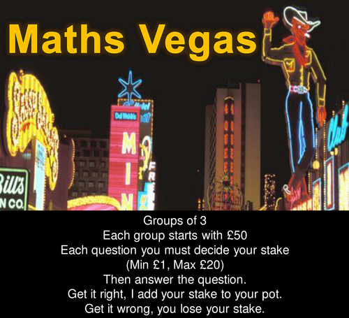 Maths Vegas Revision Game - Samples