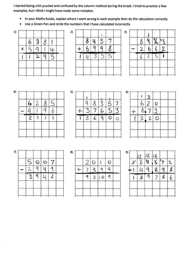 KS2 Addition and subtraction - deliberately made mistakes worksheet