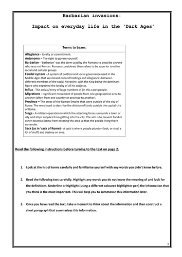 The Dark Ages - Barbarian invasions intro worksheet