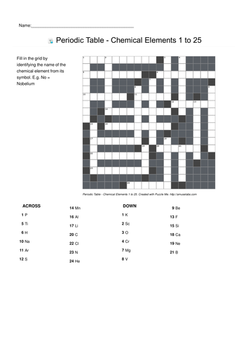 Worksheets Periodic Table Crossword Puzzle Worksheet puzzle me periodic table related crosswords by puzzleme crosswords