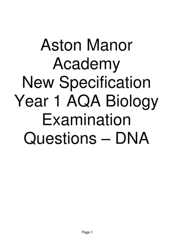 New AQA A level Biology Examination question booklet and