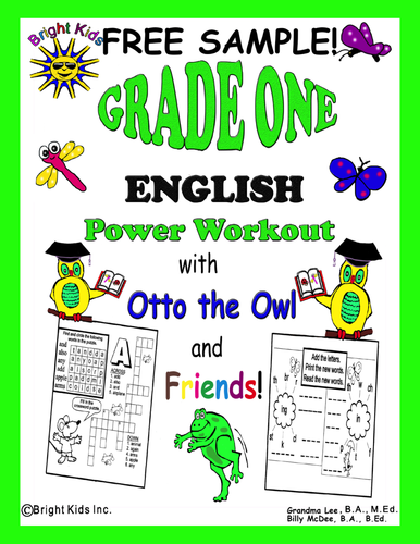 Bright Kids Grade 1 English Word Power Workout - Save Time! Just Print & Teach! - FREE SAMPLE!!