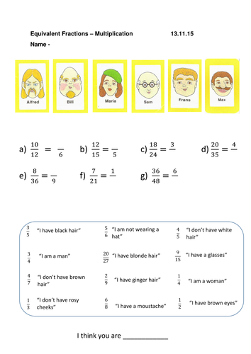 guess who equivalent and simplifying fractions worksheets by  guess who equivalent and simplifying fractions worksheets by misssunflower   teaching resources  tes