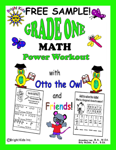 Bright Kids Grade 1 Math Power Workout - Save Time! Just Print & Teach! FREE SAMPLE!
