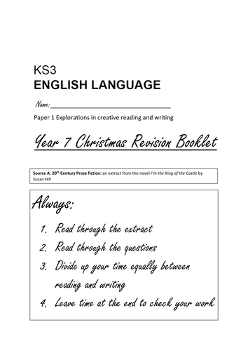 Year 7 AQA Practice English Language Exam Paper 1 Reading and Writing