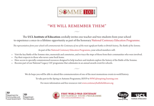 School invite to participate in free National Centenary WW1 Education Programme