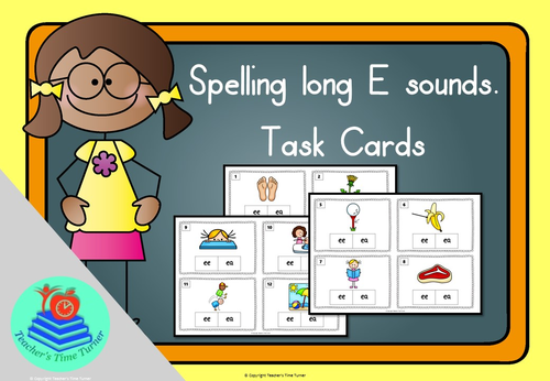 Long E sound task cards. 20 cards to practice ee and ea.