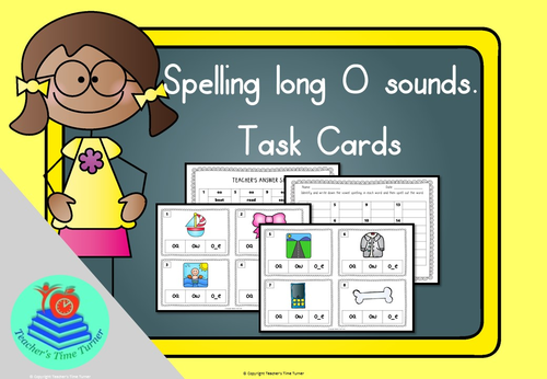 Long O sound task cards. 16 cards to practice oa, ow and o_e.