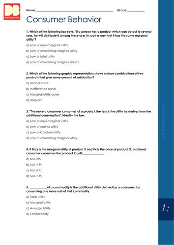 Economics revision worksheets